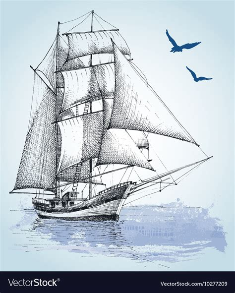 boat scene drawing boat drawing sailboat sketch vector by danussa image