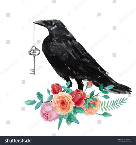 vintage colour illustration of the story of robin hood the nottingham outlaw and his merry men watercolor raven vintage key siting on stock vector 245678521 shutterstock