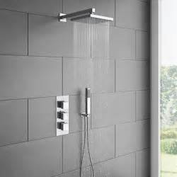 L Shape Shower Bath milan triple thermostatic valve with square shower head