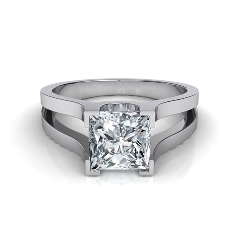 Cut Engagement Rings by Wide Band Split Shank Princess Cut Solitaire Engagement Ring