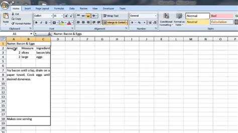 how to create a recipe template in word excel computer