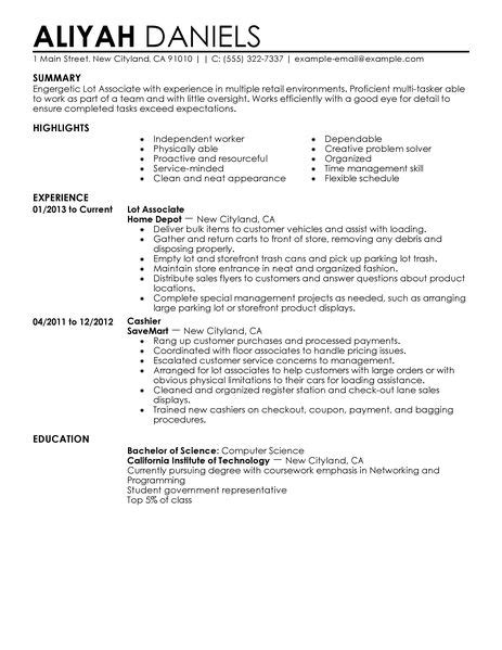 Warehouse Jobs Resume Templates by Part Time Lot Associates Resume Example Retail Sample