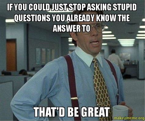 Office Space That Would Be Great Meme - if you could just stop asking stupid questions you already
