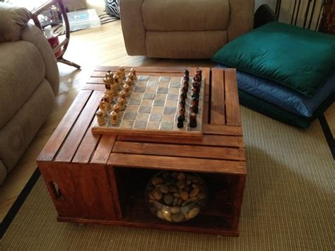 Inspired By Another Pin My Quot Crate Quot Coffee Table Has A Diy Coffee Table Chess Board