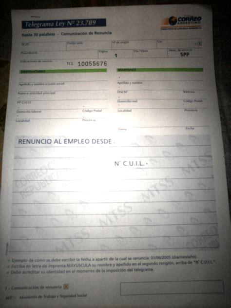Telegrama De Renuncia Correo Argentino Taringa   telegrama de renuncia correo argentino taringa