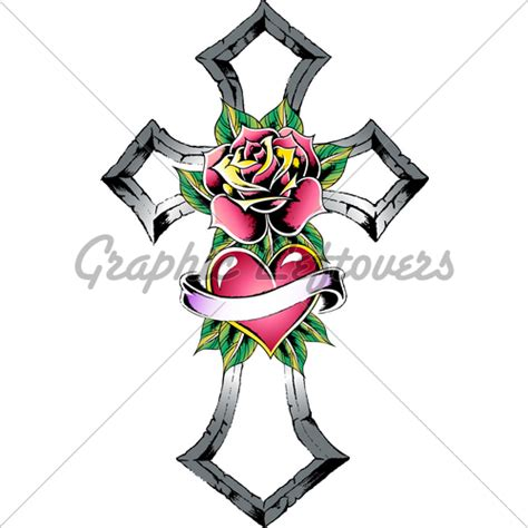 cross heart rose ribbon sign 183 gl stock images