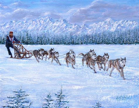 sled race sled racing painting by leroy jesfield