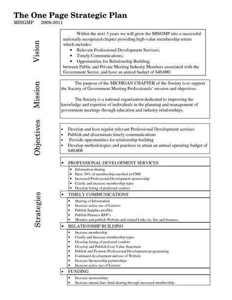 One Page Strategic Plan Template Bing Images 1 Page Strategic Plan Template