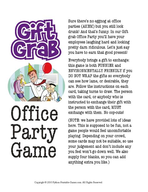 printable games for christmas party office christmas party gift exchange gift grab printable