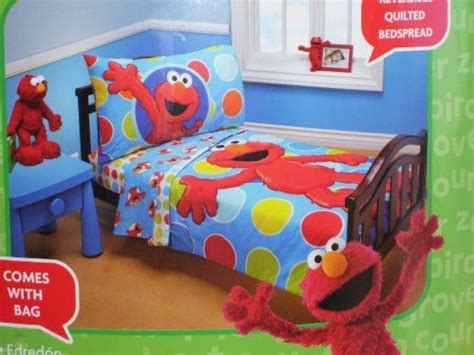 Sesame Street Elmo 4 Piece Toddler Bed Set Jamey S Room Elmo Bedding Set