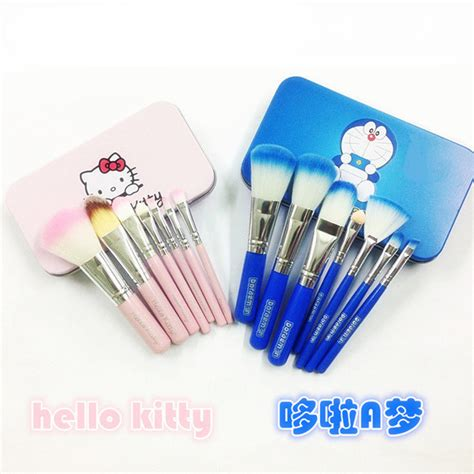 Set Kuas Hello kuas make up kosmetik motif doraemon atau hello 7 pcs make up brush set elevenia
