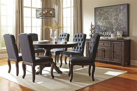 Furniture 7 Extension Dining Room Set In Graphite Solid Wood Pine Dining Room Pedestal Extension Table By Signature Design By Wolf