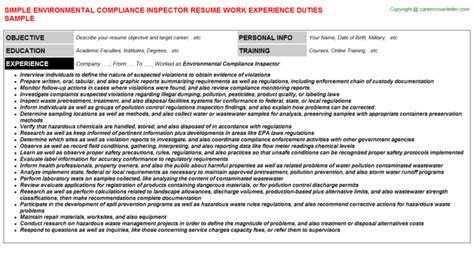 Environmental Compliance Inspector Sle Resume by Environmental Compliance Inspector Resume Writing Exle