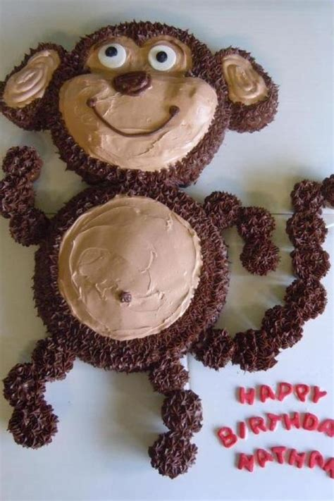 monkey birthday cake template monkey cake with cupcake wyatt s birthday
