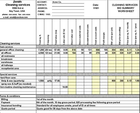bid service free janitorial bidding spreadsheet studio design
