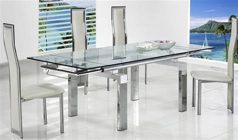 extendable glass dining table set expandable