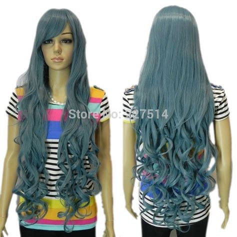 Wig Smoke Blue new smoke blue grey curly wavy vocaloid synthetic wig in synthetic wigs
