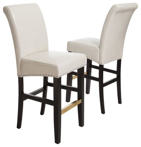 ivory leather bar stools carmen ivory leather bar stool set of 2 modern bar