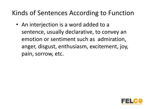 types of sentences according to pattern ppt lesson 3 sentences according to function hr tod