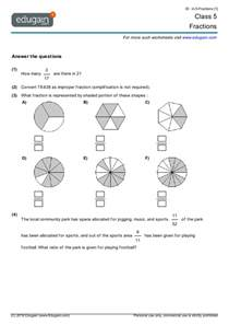 class 5 math worksheets and problems fractions edugain
