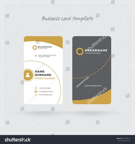 business card template for self printing golden gray vertical business card print stock vector