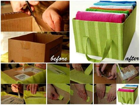 diy storage boxes recycle and organize box for organizing towels home