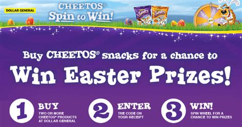Dollar General Sweepstakes 2017 - cheetos easter spin to win game at dollar general cheetosspin2winatdg com