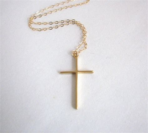 simple gold cross necklace 14k gold filled chain