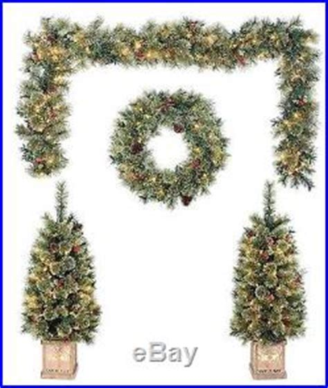 pre lit christmas topiary trees new 5 pc pre lit decoration set garland 2 topiary trees 2 wreaths decor world