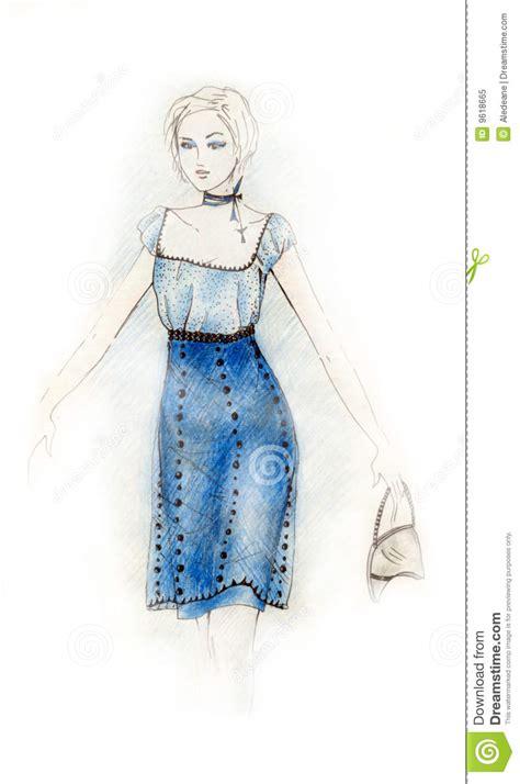 blue dress fashion illustration stock illustration