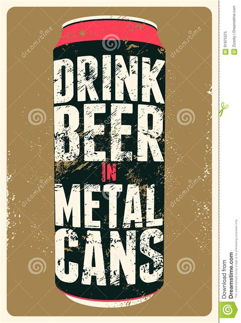about quot drinking and beer quot metal painting vintage tin drink beer in metal cans typography vintage grunge beer