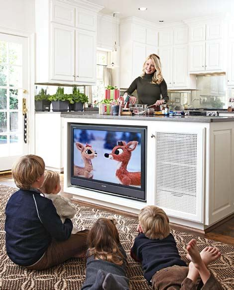 kitchen television ideas tv in the kitchen island traditional home hooked on houses