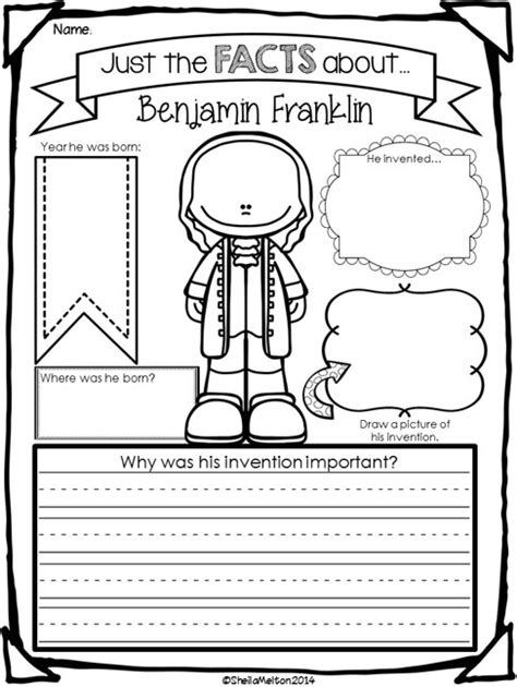 benjamin franklin biography 3rd grade directions students fill in information about each