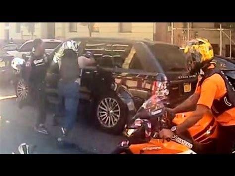 road rage nyc bikers  suv range rover accident biker attack   york city motorcycle