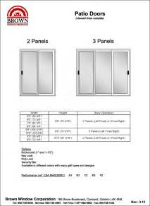 Standard Patio Door Measurements Patio Door Window Size Chart From Brown Window Corporation