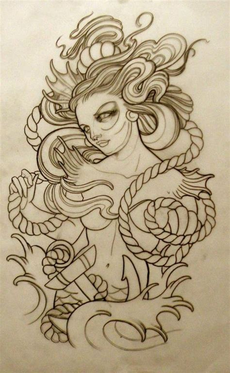 old school mermaid tattoo designs new school mermaid and roped anchor design