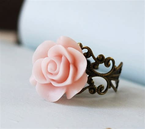 Fashion Ring C57866 Soft Pink soft pink flower ring dusty pink adjustable by lechaim