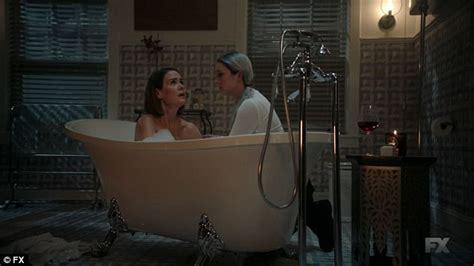 sex in restaurant bathroom aly and winter enjoy hot bath on american horror story
