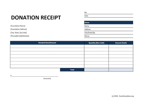 donation receipt template excel templates excel