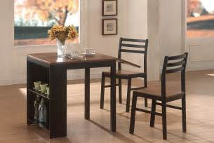 Casual Kitchen Table Sets 3 Breakfast Table Set In Black Walnut Casual Kitchen Dining Tables