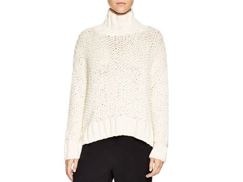 Sweater 10179760 White Knitting eileen fisher chunky knit turtleneck sweater in white lyst