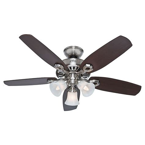 nickel ceiling fan with light hunter fan company builder small room brushed nickel