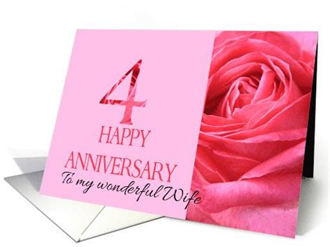 4th Wedding Anniversary Quotes For My by 4th Anniversary To My Pink Up Card