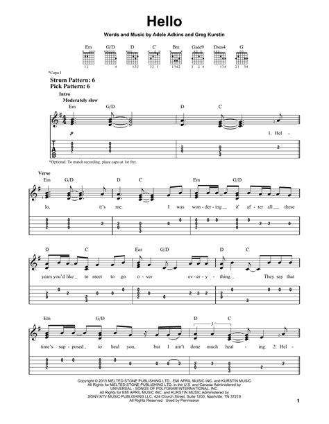printable lyrics hello adele hello sheet music direct