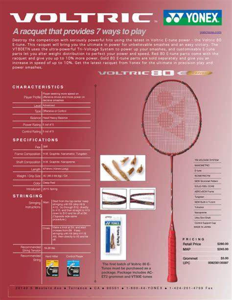 Raket Badminton Yonex 80 Etune 2015 yonex voltric 80 etune new york badminton center