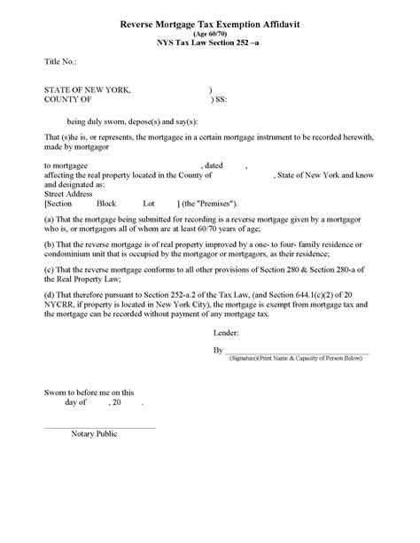 Mortgage Satisfaction Letter New York mortgage tax exemption affidavit new york title
