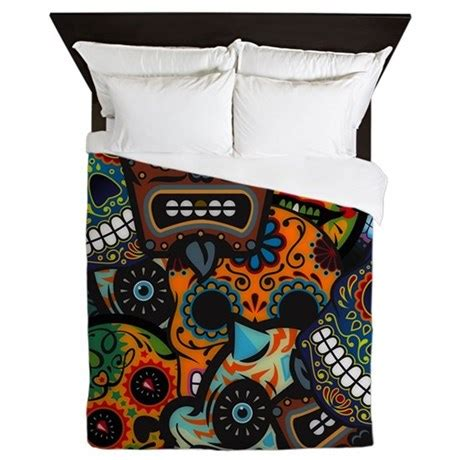 day of the dead bedroom day of the dead queen duvet by highaltitudes2