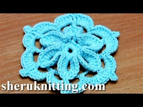 Stelan Next Flower crochet flower with 3d center how to tutorial 29 come