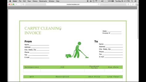 make a carpet service cleaning invoice pdf excel