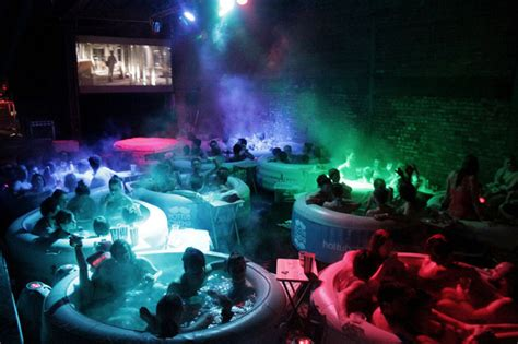 film pop up hot tub cinema a pop up movie theater with hot tubs